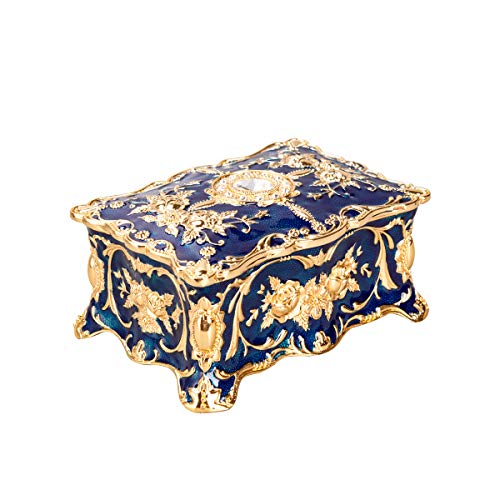 Feyarl Vintage Rectangle Blue Tiny Trinket Box Jewelry Box Ornate Antique Finish Engraved Organizer Box (Small) (Antique Trinket Box)
