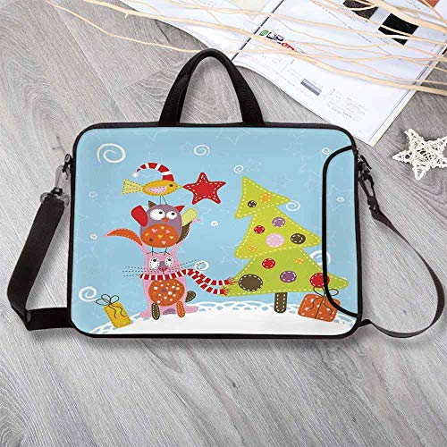 Christmas Lightweight Neoprene Laptop Bag,Funny Cartoon Stylized Cat Owl and a Bird Best Friends Animals Gifts Noel Print Laptop Bag for Laptop Tablet PC,14.6