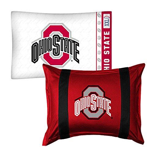 - 2pc NCAA Ohio State Buckeyes Pillowcase and Pillow Sham Set College Team Logo Bedding Accessories
