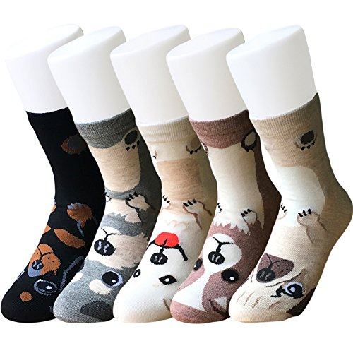 IMAXSELL 5 Pairs Women's Novelty Funky Pet Animal Print Pattern Casual Comfortable Cartoon Cotton Crew Socks (Multicolor 1)
