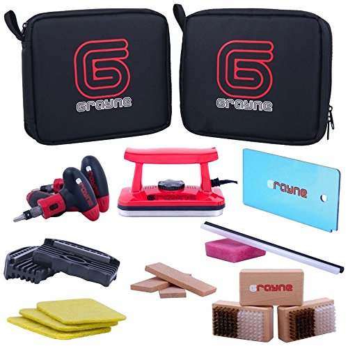 Grayne Deluxe Ski And Snowboard Tuning Kit w/Waxing (Ski Snowboard Waxing Iron)