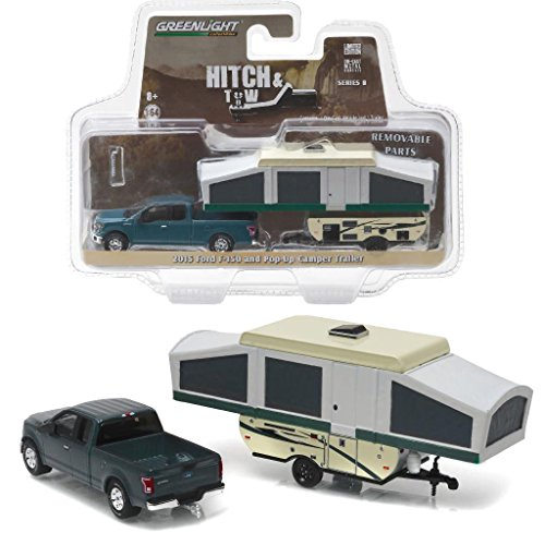 New 1:64 HITCH & TOW SERIES 8 - GREEN 2015 FORD F-150 WITH POP-UP CAMPER TRAILER Diecast Model Car By Greenlight (Pop Up Camper Toy compare prices)