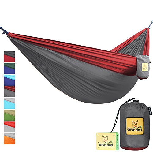 Wise Owl Outfitters Portable Lightweight Parachute Nylon Fabric Hammock with Ropes and Carbines, DoubleOwl, Charcoal Grey & Crimson Red