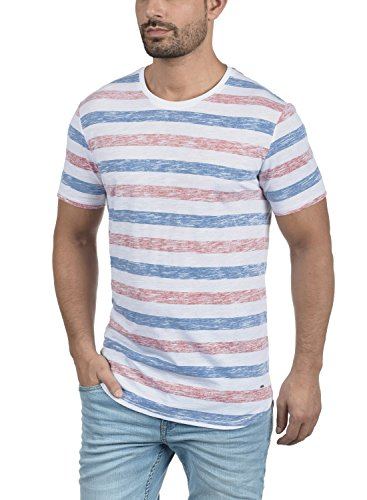 Hombre Con solid Blue Básica Camiseta Cuello Para Diva 1618 Corta Rayas Tet Manga De Redondo zqFz8S