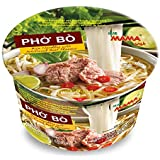 MAMA Pho Bo Instant Beef Soup Bowl Noodle In Vietnamese Style, Silky-smooth, Chewy Rice Noodles With Piping Hot Aromatic Soup