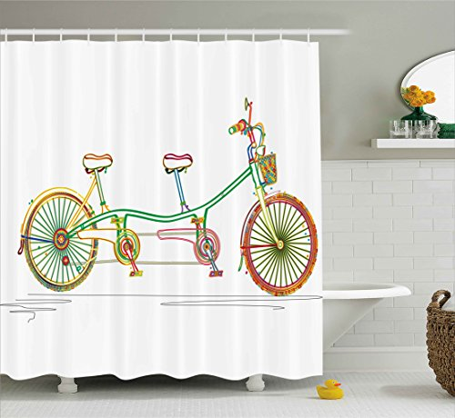 Shower Curtain, Colorful Tandem Bicycle Design on White Background Pattern Clipart Style Print, Fabric Bathroom Decor Set with Hooks, 70 Inches, Multicolor ()