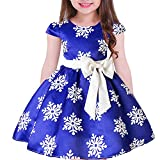 Tueenhuge Baby Girls Christmas Dress Toddler Snowflake Print Party Wedding Formal Dresses (Blue, 5-6 Years)