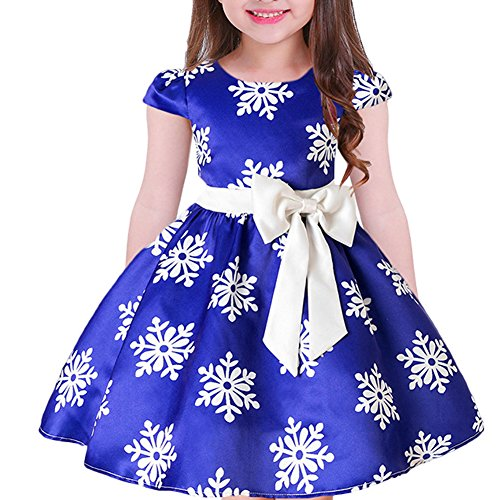 Tueenhuge Baby Girls Christmas Dress Toddler Snowflake Print Party Wedding Formal Dresses (Blue, 7-8 Years) -