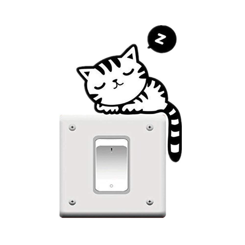 Steerfr Etiquetas engomadas Creativas desprendibles del Interruptor de la luz del Dormitorio de los Animales Lindos de la Pared del Dormitorio, Negras