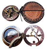 Handmade Brass Sundial Compass - Pocket Sundial -Brass Antiques West London. Beautiful Gift Item. C-3058