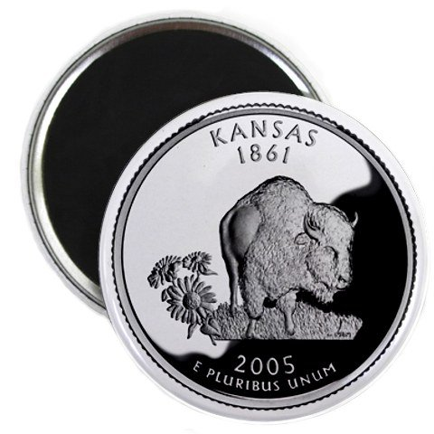 Kansas State Quarter Mint Image 2.25 inch Fridge Magnet