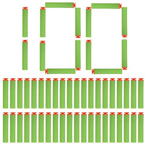 (100pcs Foam Darts,Suction Head Toy Soft Refill Bullets Darts EVA Foam for N-Strike Elite 10 Colors Available (Green))