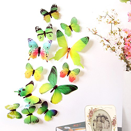 ble 3D Butterfly Wall Stickers Decals DIY Mural for Kids Girls Children Bedroom Living Room Background Nursery (Green B) ()