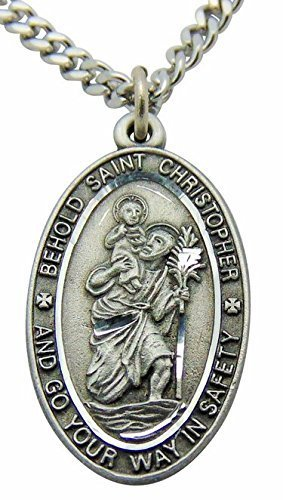 Saint Christopher Pewter Travel Medal Pendant 1 Inch Oval on 24 Inch Stainless Steel Chain Gift