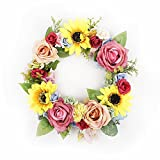 FAVOWREATH Vitality Series FAVO-W09 Handmade 12 inch Yellow SunFlowers Roses Multi Flower Dry Branch Fall Wreath For Spring Summer Season Celebration Home Front Door/Wall/Fireplace Floral Hanger Decor