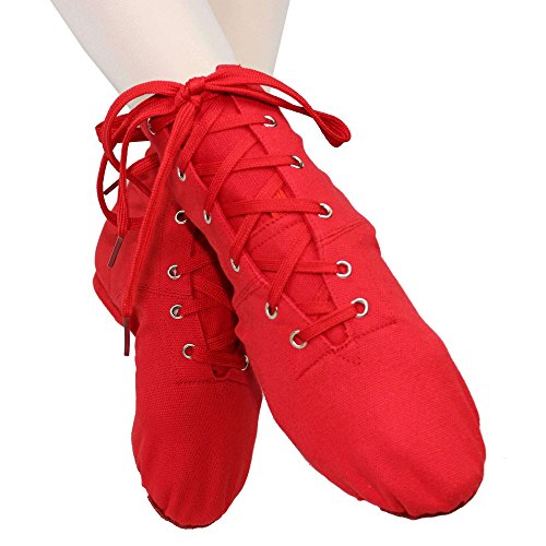 Danzcue Womens Canvas Lace up Jazz Boot Shoes Red Woak0B