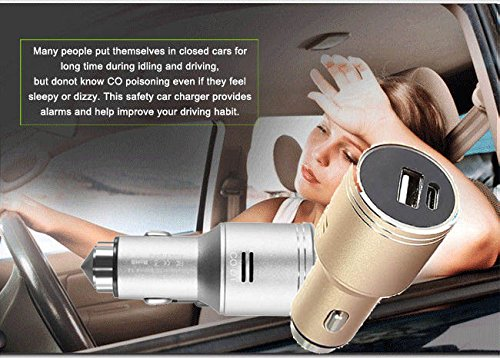 Stainless Steel Car Carbon Monoxide Detector, Quick Charge 3.0 USB Type C Fast Car Charger Adapter, CO Alarm Detector with Emergency Glass Breaker(Silver) by FASOHERE (Image #8)