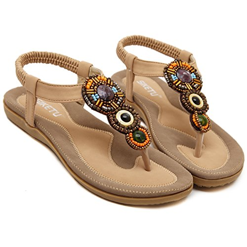 ZAMME Women's Sandals Bohemian Beaded Clip Toe Flat Shoes Apricot SrPGz40Uy4