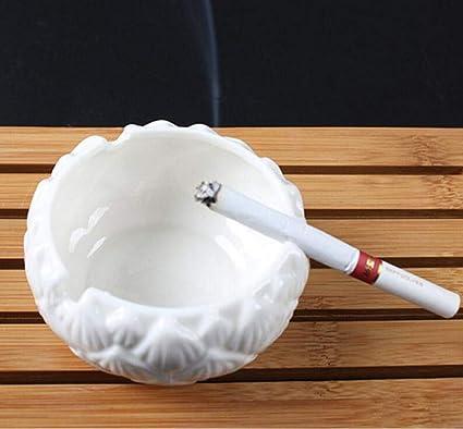 XOTF Cendrier en c/éramique cendrier Blanc m/énage Quotidien de Lotus en Porcelaine Couleur : White Blanc