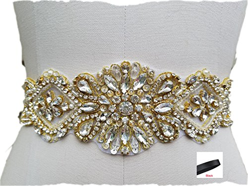 Wedding Dress Belt and Sash Crystal in Rose Gold Beaded Rhinestones for Bridal Gowns (Gold Rhinestone/Black Ribbons)