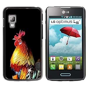 Caucho caso de Shell duro de la cubierta de accesorios de protección BY RAYDREAMMM - LG Optimus L5 II Dual E455 E460 - Chicken Golden Rooster Black