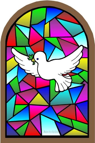 White Dove with Olive Branch on Arched Frame - Etched Stained Glass Film, Static Cling Window - White Glasses Frames Film On