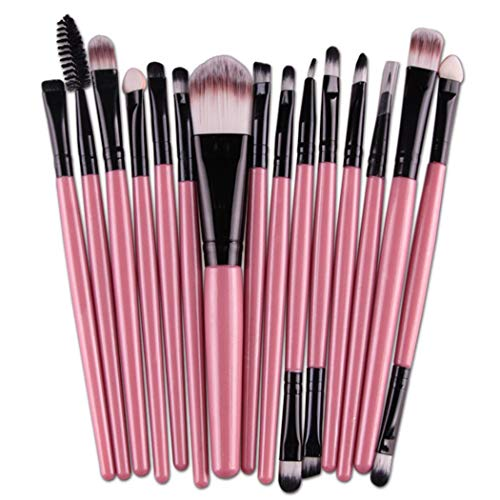 Makeup Brushes Set, 15 Pieces Professional Cosmetic Eye Foundation Face Eyeshadow Shadow Eyeliner Blush Lip Blending Makeup Brushes Tools (FH)