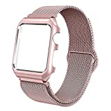BMBEAR Compatible with Apple Watch Band 38mm Stainless Steel Milanese Loop Magnetic Replacement