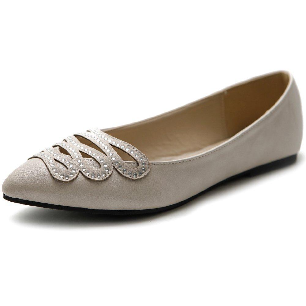 Ollio Women's Shoe Ballet Infinity Rhinestone Pointed Toe Flat B00I8XPIXA 6 B(M) US|Beige