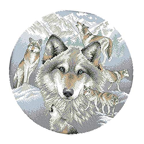 Prettyia Stamped/Counted Cross Stitch Kits for Adults Wolves Patterns Embroidery Needlepoint Kit - 14CT 38 x -
