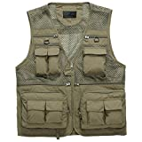 LIANIHK Men's Casual Multi Pockets Outdoor Travel Mesh Cargo Active Vest
