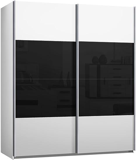 Armario de puertas correderas, puerta corredera, aproximadamente 200 cm de ancho, blanco y negro, armario: Amazon.es: Hogar