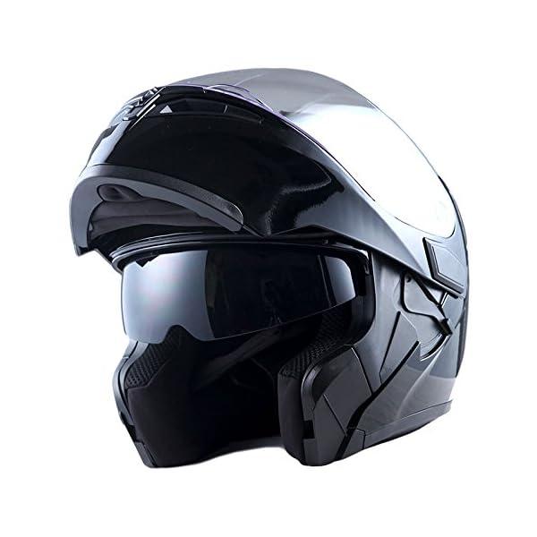 1Storm Motorcycle Modular Full Face Helmet Flip up Dual Visor Sun Shield: HB89 Glossy...