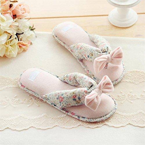 Pantuflas mhgao Ladies Home ocio Series pequeñas flores con lazo Toe zapatillas rosa