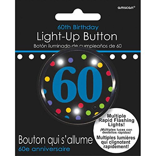 60th Birthday Flashing Button -