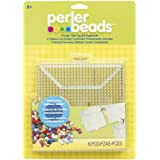 Perler Beads Clear Square Pegboard Set, 6 Pieces
