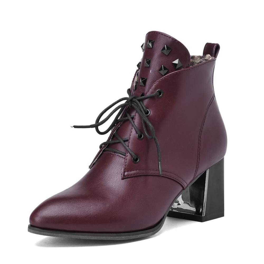 CITW Herbstliche Damenstiefel Rivet High Heels Stiefel Großformat Damenstiefel Mit Martin Stiefel Warme Stiefel,rot,UK1 EUR35