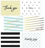 "60 Thank You Postcards Bulk | 6 Polka Dot Stripe Assortment 4.25"" x 5.5"" | For Wedding, Baby Shower, Graduation, Bridal, Teacher, Appreciation, Business & More (Modern Postcard)"