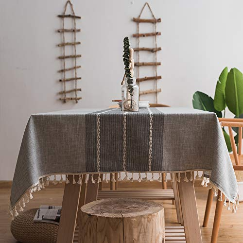 Lamberia Cotton Linen Tablecloths with Tassel for Rectangle Tables Heavyweight Burlap Table Cover for Kitchen Dinning Tabletop Decoration (Gray, 55
