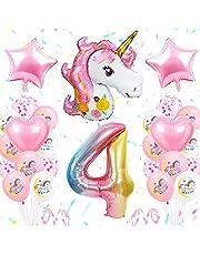 4e verjaardag partij decoratie meisjes, eenhoorn verjaardag decoratie set roze, groot aantal 4 folie ballon, roze witte latex ballonnen, 4 eenhoorn party benodigdheden voor baby meisjes verjaardag viering