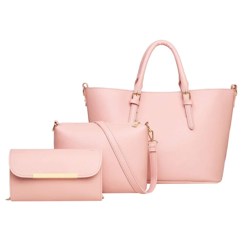 HunYUN Fashion Casual Bag 3Pcs Women Solid Color Leisure Fashion Handbag+Messenger Bags+Wallets Pink by HunYUN