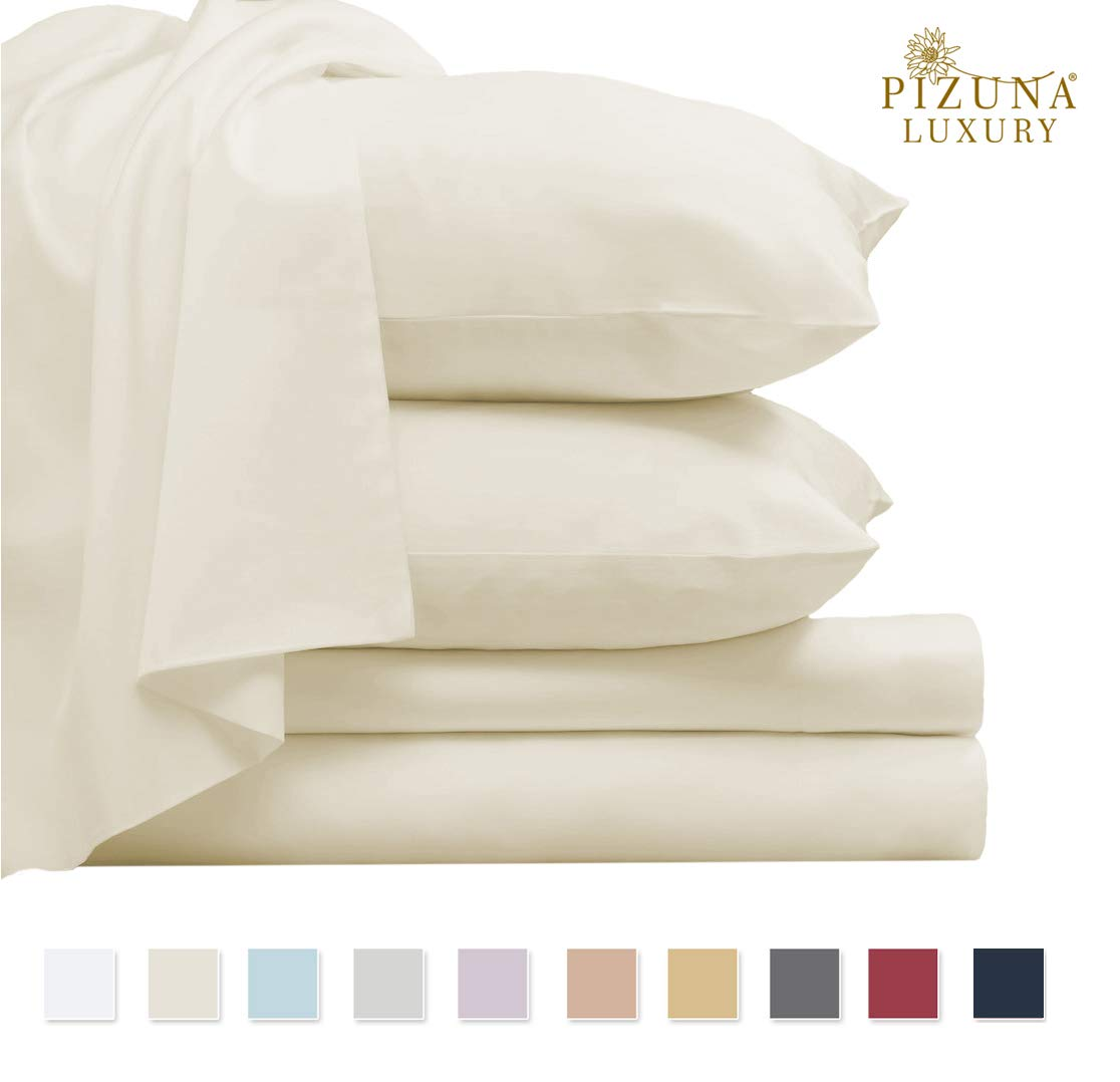 Pizuna 800 Thread Count Cotton Queen Sheets Set Birch Ivory, 100% Long Staple Cotton Sateen Bed Sheets, Thick Hotel Quality Sheets fit Upto 15 inch Deep Pockets (Cream Queen 100% Cotton Sheet Sets) by Pizuna