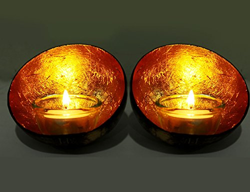 Exotic Elegance Set of 2 Glowing Candle Holder From Coconut Shell and Golden Leaf.