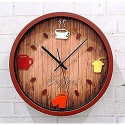CCYYJJ 12 Inch (30 Cm) 3D Stereo Hanging Mode Pot Of Coffee Restaurant Bar Clock Clocks Decorative Wall Quartz Clock (Color Yellow)