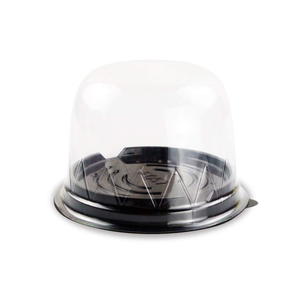 BBC 3 Inch High Dome Plastic Cake Box, Transparent Round Lids, 4.3X3.1 Inch, 50 Counts, Black Color BBC BAKERY