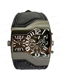 Oulm Luxury Quartz Black Dial Men Leather Band Wrist Watch