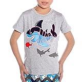 kids sharks tshirt - Tecrok Boys Short Sleeve Tshirt Cool Shark Summer Shirt Toddler Kids Clothes 1-7 Years, Gray, 1Y