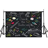 7x5ft Back to School Photography Backdrops, MeeQee Blackboard Classroom Backdrop for School Multicolor Drawing Pencils Chalkboard Photo Studio Background for Student, BTS628