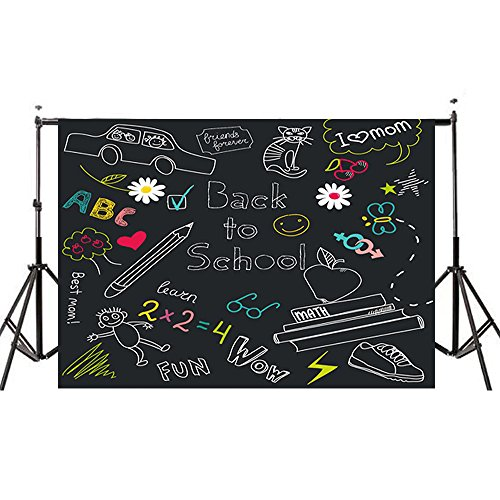 7x5ft Back to School Photography Backdrops, MeeQee Blackboard Classroom Backdrop for School Multicolor Drawing Pencils Chalkboard Photo Studio Background for Student, BTS628 by MeeQee