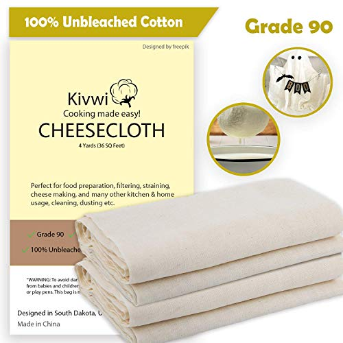 Kivwi Cheesecloth, Grade 90, 36 Sq Feet, Reusable, 100% Unbleached Cotton Fabric, Ultra Fine Cheesecloth for Cooking - Nut Milk Bag, Strainer, Filter (Grade 90-4 Yards) for $<!--$8.99-->